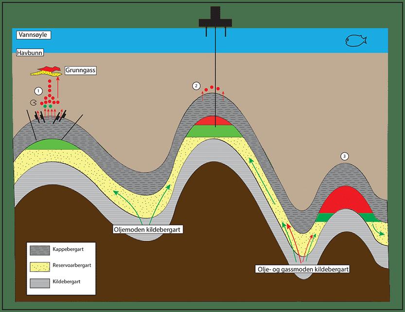 """Feller er dynamiske - ikke statiske """"tanker"""". De mottar petroleum og de lekker petroleum, og olje fra ulike kildebergarter kan blandes i samme felle. Kappebergartens tetthet er den viktigste faktoren som bestemmer gass/olje-forholdet (GOR). Fordi gass utvider seg mye mer enn olje ved sekundær migrasjon, er det fint om fellen lekker gass og beholder olje. Dette skjer i alle de store oljefelt på norsk sokkel. I oppløftede bassenger er det ofte slik undermettet olje i grunne feller nær land (Goliat/Avaldsnes/Heidrun). © Dag Karlsen"""