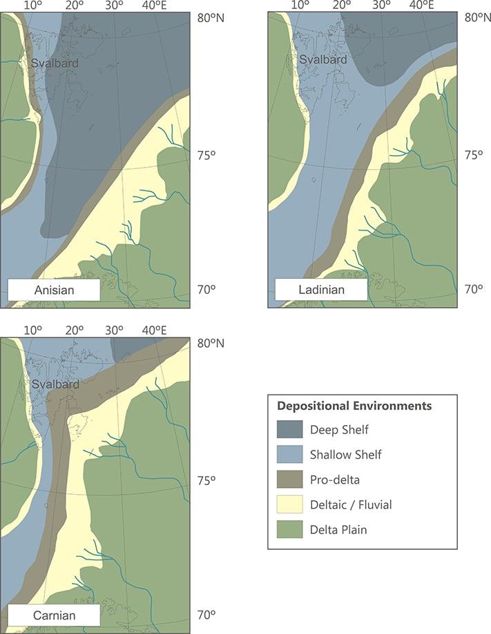 Paleogeografiske kart fra tre tidsintervaller i midtre trias (anis, ladin) og sen trias (carn). Legg merke til at deltaflaten bygger seg nordvestover i retning Svalbard, hvorpå de dype sokkelområdene etter hvert blir begravd. Kildebergart er derfor mest sannsynlig i nedre og midtre trias (Steinkobbeformasjonen), mens reservoarbergarter vil være mer utbredt lengre opp i lagrekken (Snaddformasjonen).