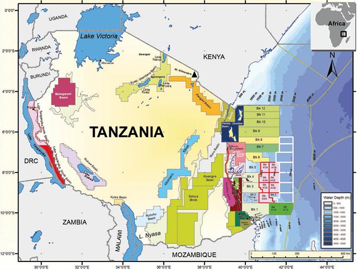 Aktivitetskart for Tanzania. Blokker som tilbys i den fjerde lisensrunden er vist med grønt omriss. Statoils blokk 2 ligger langt i sør og utenfor Mandawa-bassenget hvor geologer fra Universitetet i Oslo har pågående forskningn- og utdanningsprosjekter. Kilde: Tanzania Petroleum Development Corporation (TPDC)