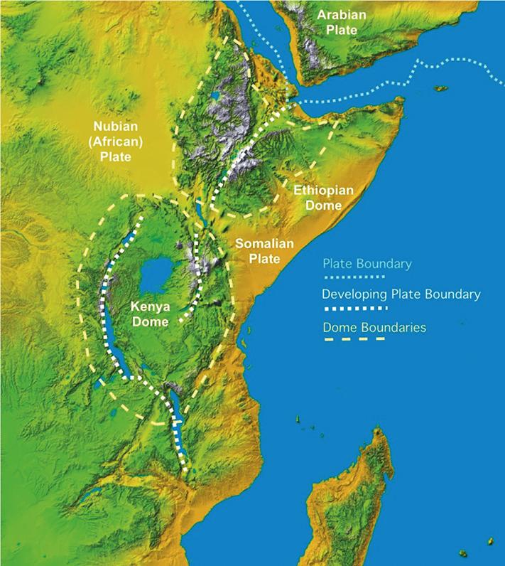Den østafrikanske riftdalen har sammenheng med at det afrikanske kontinentet er i ferd med å sprekke opp. Vi ser at plategrensene i Det indiske hav og Rødehavet møtes utenfor kysten av Somalia og sørover herfra utvikles en ny plategrense. Enda lengre sør splitter den opp i to. © Statoil