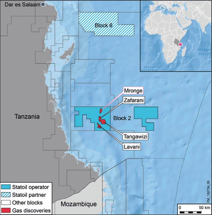 Statoils fem gassfunn utenfor Tanzania ligger på dypt vann. Blokk 2 var opprinnelig 11.099 kvadratkilometer, men deler av blokken er nå tilbakelevert. © Statoil