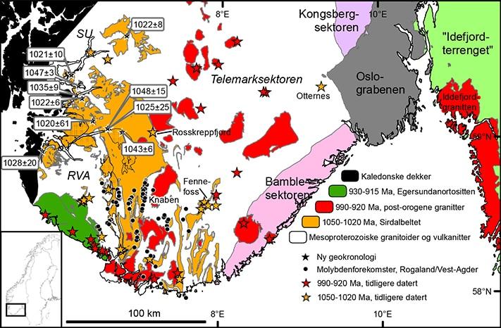 Forenklet, regionalt berggrunnskart over Sør-Norge. Sirdalbeltet (oransje) er basert på ny kartlegging gjort i løpet av de siste ti årene. Den kjente utbredelsen av svekonorvegisk magmatisme før denne kartleggingen er vist med vertikal skravur. Kartleggingen øst og sør for Knaben er underveis, og ferske data tyder på at beltet har større utbredelse enn det som er vist i kartet. Illustrasjon: NGU