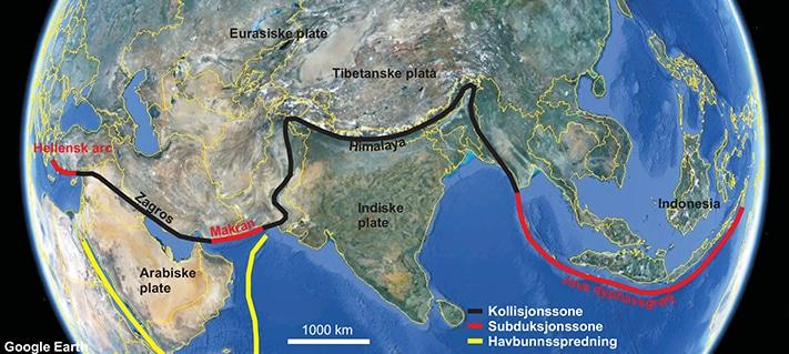 Aktiv tektonisme langs den sørlige marginen av Eurasiaplaten. Illustrasjon: NGU