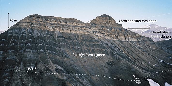 Louiseberget i Van Keulenfjorden, vest-Spitsbergen. Den nederste, mørke slamsteinen er Rurikfjellformasjonen, fulgt av Helvetiafjellformasjonens klippedannende sandsteiner. De øverste sandsteinene rett under toppen av fjellet tilhører Carolinefjellformasjonen. Foto: Ivar Midtkandal
