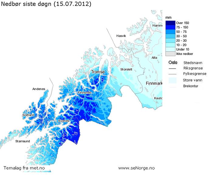 Kart som viser nedbørsfordeling og mengde fra 14. til 15. juli 2012. Kilde: senorge.no
