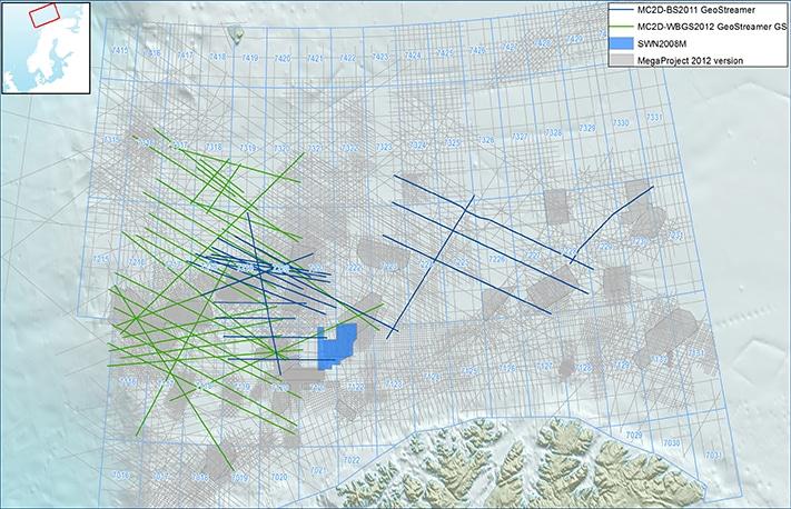 PGS sin database i Barentshavet. MegaProject i lyst grått, 2D GeoStreamer og konvensjonell kilde i blått og pågående 2D GeoStreamer GS innsamling i grønt. © PGS