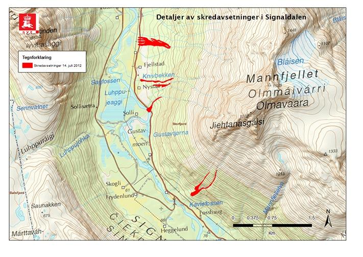 Flomskredavsetninger i Signaldalen i Troms etter rekordnedbøren 14. og 15. juli 2012. Avsetningene ligger nede i dalen, men skredene startet høyt oppe. Kilde: senorge.no Kartografi : odd-arne Mikkelsen, region Nord, NVE