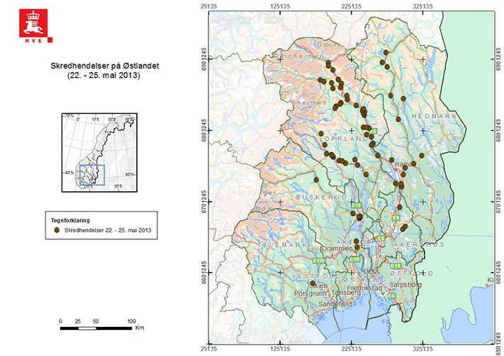 Lokalisering av skredhendelser på Østlandet i periode 22.-25. mai 2013. Kartografi: Graziella Devoli, NVE