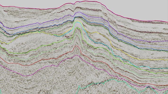 2D seismisk linje over «pop-up»-strukturen Zafarani hvor det første funnet ble gjort. Hevningen skyldes kompresjon som følge av bevegelser langs en sidelengs forkastning. Kart: Statoil