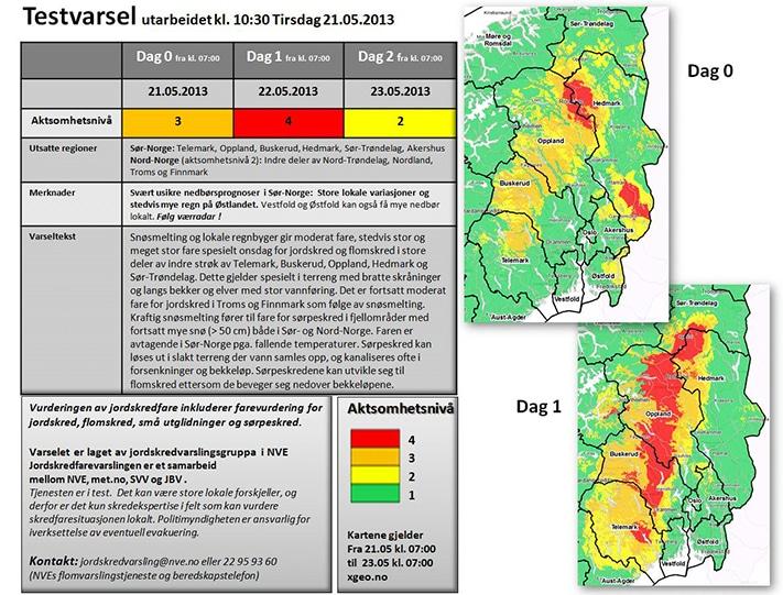 Testvarselet sendt ut for Østlandet den 21. mai 2013 viser tydelig meget stor jordskredfare i området. Illustrasjon: NVE