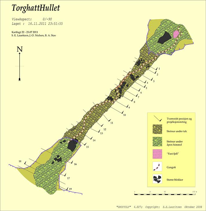 Plankart over Torghatthullet. Stiplet linje markerer turiststien. Illustrasjon: Stein-Erik Lauritzen