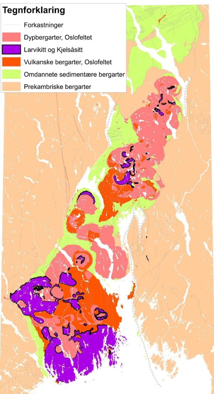 Oslofeltet med sedimentære bergarter fra kambrium, ordovicium og silur (lys grønn farge), samt størkningsbergarter fra perm, inklusive larvikitt. Oslofeltet ligger i en graben omgitt av grunnfjellsgneiser. Kartografi: Tom Heldal