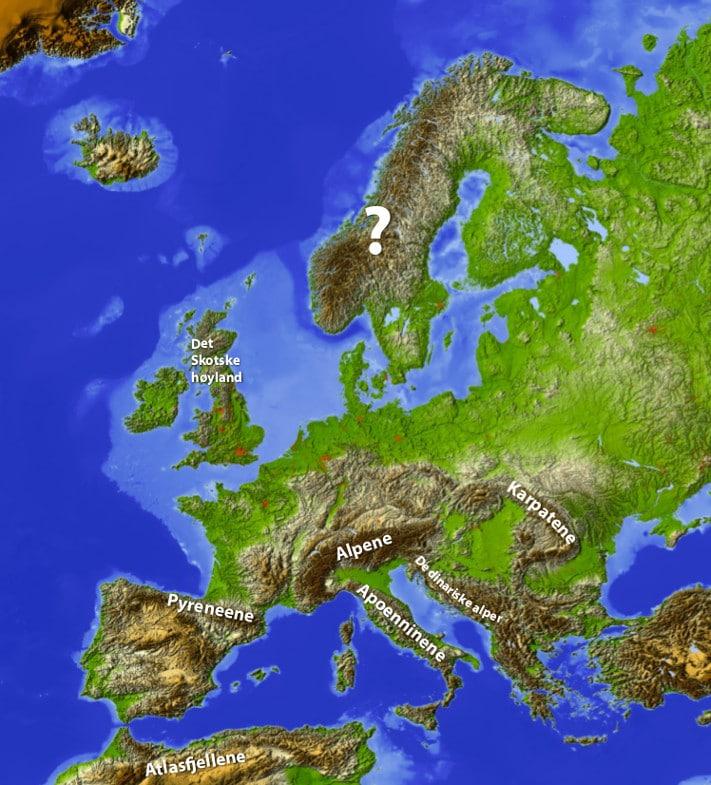 topografisk kart over europa Geo365 | Nordmenn og fjellet topografisk kart over europa