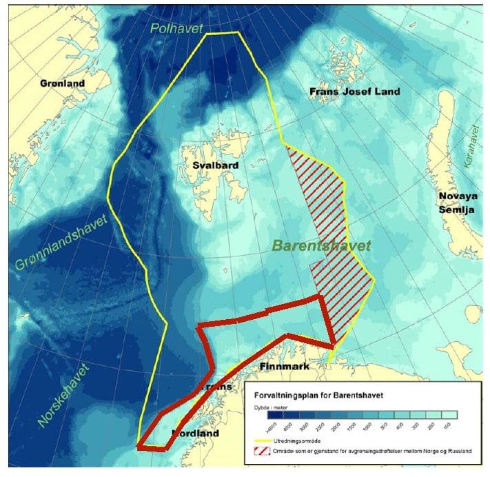Forvaltningsplanen (gul linje) som regjeringen har lovet til 2010 vil dekke hele Barentshavet og sokkelen nord for Svalbard, et areal som utgjør ca. 1.400.000 km2 (rundt fire ganger arealet av fastlands-Norge). MAREANO (rød linje) dekker foreløpig bare et lite område utenfor Nordland, Troms og Finnmark på ca. 140.000 km2, men området har til gjengjeld noen av verdens rikeste torskebanker. I tillegg vokser svært viktige forekomster av kaldtvannskorallrev her. © NGU