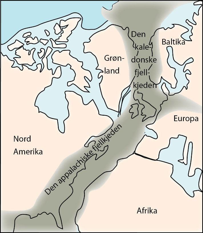 Kaledonidene i Norge. Skyvedekkene er delt inn i enheter med forskjellig farge. Dyp (km) i Sør-Norge indikerer omtrentlig hvor dypt forskjellige deler av grunnfjellet ble begravd under kollisjonen med Grønland. Illustrasjon: Haakon Fossen