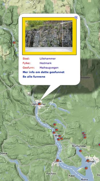 En lang dags ekskursjon fra Lillehammer til Hamar gir innsikt i de fleste av de formasjonene som utgjør den senprekambriske Hedmarksgruppen. På veien treffer vi skifre, sandsteiner, konglomerater, kalksteiner og tillitter. Mot øst og vest ligger det mye eldre grunnfjellet som består av krystallinske bergarter.  Kartografi: GeoPublishing - geofunn.no
