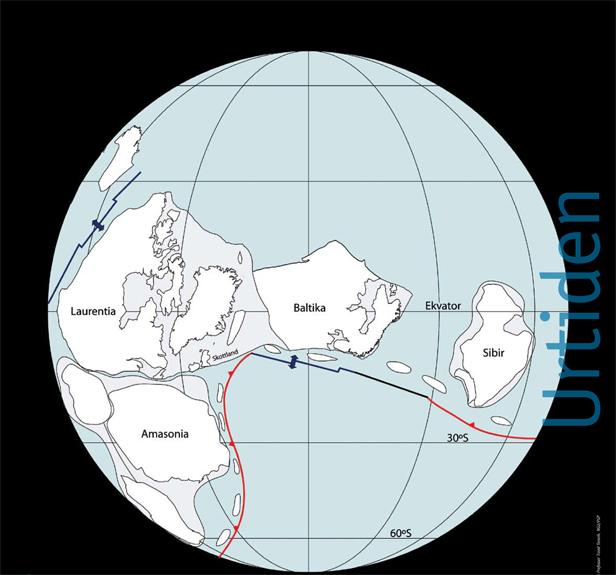 Baltika i sen urtid. Langs den nordvestlige randen lå flere riftbassenger. De ble senere skjøvet inn over fastlandet, og restene etter dem kan følges fra det indre Østlandet, gjennom deler av Norge og Sverige, til Finnmark. Sandsteiner er mest vanlig, men andre bergarter, som samlet sett reflekterer store klimavariasjoner sent i urtiden, finnes også.  Kilde: Landet blir til, NGF 2006