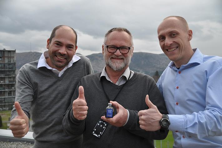 Kjerneteamet på Skarfjell-funnet. Geert Strik (t.v.), Exploration Team Leader Jens-Ole Koch og Andreas Frischbutter. Foto: Halfdan Carstens