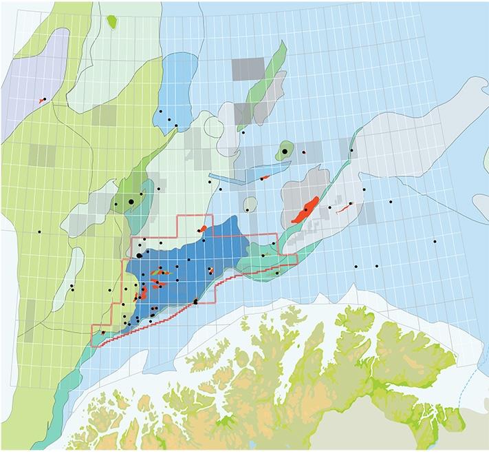 Strukturelementer i Barentshavet. Brønner og funn langs vestmarginen er lagt inn. Kart: OD