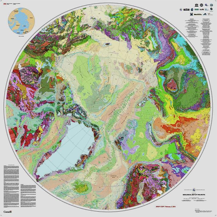 Berggrunnskartet dekker både hav- og landområder i Arktis og strekker seg ned til 60 grader nord.