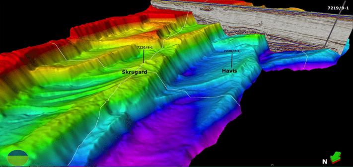 """3D-perspektiv (sett fra nordvest) viser den strukturelle beliggenheten av de to funnene Skrugard og Havis. Bjørnøyrenneforkastningskomplekset består av roterte forkastningsblokker som faller ned mot bassenget i vest, og de to funnene ligger på hver sin terrasse. Brønn 7219/9-1, som Norsk Hydro boret i 1992, var imidlertid tørr. Årsaken kan være at hydrokarbonene har lekket ut gjennom nedre kritt sandsteiner som """"lapper på"""" reservoaret. Illustrasjon: Statoil"""