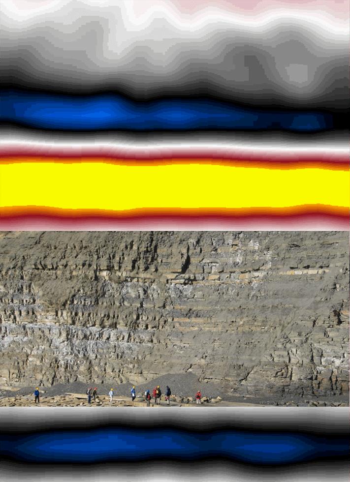 Bildekomposisjonen viser hvordan refleksjoner på topp og bunn av Kimmeridge Clay på sørkysten av England kunne tatt seg ut hvis laget lå dypt begravd. Refleksjonen på toppen av kildebergarten skyldes en negativ impedanskontrast, mens refleksjonen på bunnen av laget skyldes en positiv impedanskontrast. Med et omtrent 50 meter tykt lag kommer refleksjonene svært godt frem.  Illustrasjon: Helge Løseth