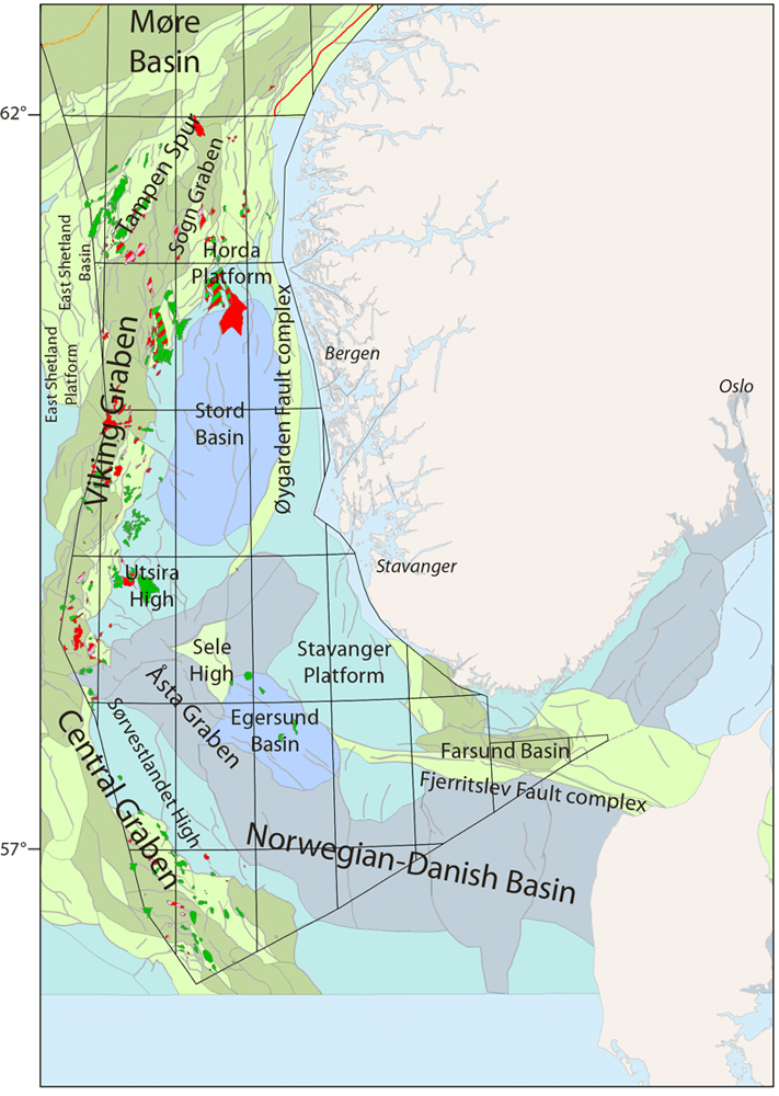 """Hele Nordsjøens kapasitet som CO2-lager har blitt vurdert av Oljedirektoratet. Innenfor områder der det har blitt gjort funn, slik som i Sentralgrabenen og Vikinggrabenen, har mulighetene i nedstengte felt blitt evaluert. Utenfor """"fairwayen"""" er mulighetene i saltvannsreservoarer undersøkt.  Illustrasjon: Oljedirektoratet"""
