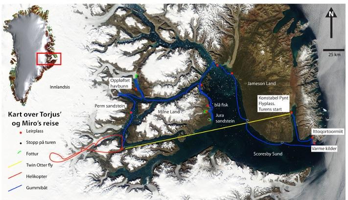 Ekspedisjonsdeltakerne reiste inn i istiden. Omtrent slik kan vestkysten av Norge ha sett ut for 10 000 år siden. Den lille bygda Scoresbysund, og verdens lengste fjord med samme navn, ligger på omtrent samme breddegrad som Tromsø (70°N). Likevel er dette Arktis, og fjorden er frosset 8-9 måneder om året. Båtreisen var på nesten 800 km og tok tre uker. Satellittbildet er tatt en sommerdag og gir et bra inntrykk av geologien. Områder med harde bergarter (gneis, granitt og basalt) ligger typisk i over to kilometers høyde og er derfor dekket med snø. De snøfrie områdene er det lavereliggende terrenget med de mykere mesozoiske sedimentære bergarter. Illustrasjon: Ebbe Hartz/ http://visibleearth.nasa.gov