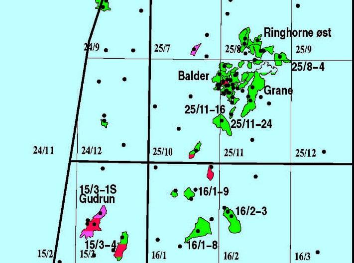 Balder ligger omtrent rett vest av Stavanger blant en mengde andre funn og felt. De svarte prikkene er brønner. Illustrasjon: Oljedirektoratet