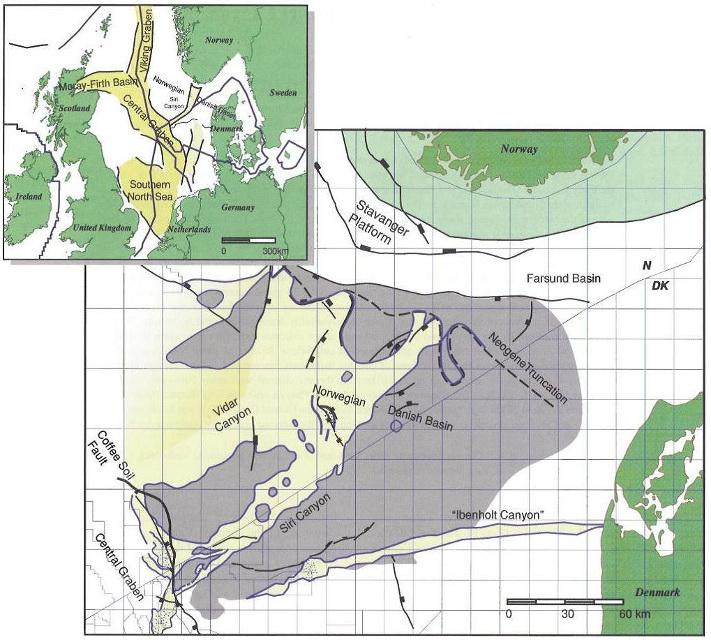Langt sør på den norske kontinentalsokkelen er det bare funnet olje og gass i Sentralgrabenen. Hydrokarbonene er i all hovedsak ansamlet i kalksteinsreservoarer fra kritt (for eksempel gigantfeltet Ekofisk) eller i sandsteinsreservoarer fra øvre jura (for eksempel Ula og Gyda). I Det norsk-danske basseng, nordøst for Sentralgrabenen, er det på norsk sokkel foreløpig ikke gjort funn i tertiær. I Egersundbassenget er det imidlertid påvist olje og gass bergarter fra jura tid (Yme, Bream, Brisling). På dansk sokkel er det derimot funnet flere mindre felt i paleocene sandsteiner øst for den store grabenen. Illustrasjon: Noreco