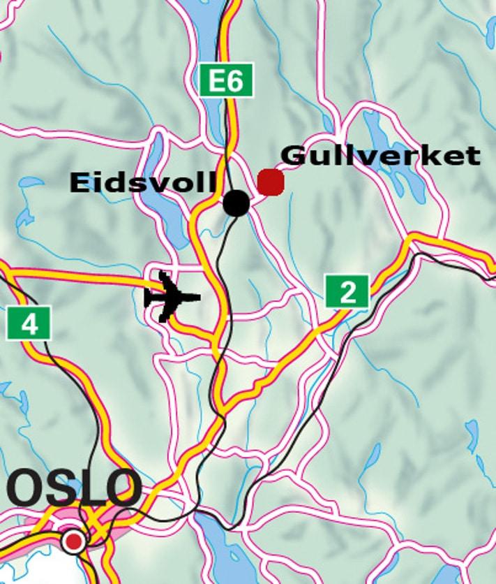 Nordic Mining har mutet et lite område ved de gamle gullgruvene som ligger nord for Eidsvoll. Du kommer dit ved å følge skiltene til Gullverket fra Eidsvoll ved Vorma. Gullverket er et lite område som fikk navnet sitt under en tidligere periode med gruvedrift. Kartografi: Masaoki Adachi