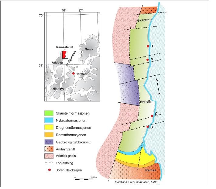 Geologisk kart over Ramsåfeltet. Ramsåfeltet ligger på østsiden av Andøya og på nedsiden av riksveien mot Andenes. Du finner blotningene ved å parkere langs riksveien mot Andenes og spasere ned til stranden. Men husk å komme når det er fjære sjø. De fire rød prikkene angir plasseringen av fire boringer som ble gjort tidlig på 1970-tallet. Gården Ramså ligger på grunnfjell. Illustrasjon: StatoilHydro