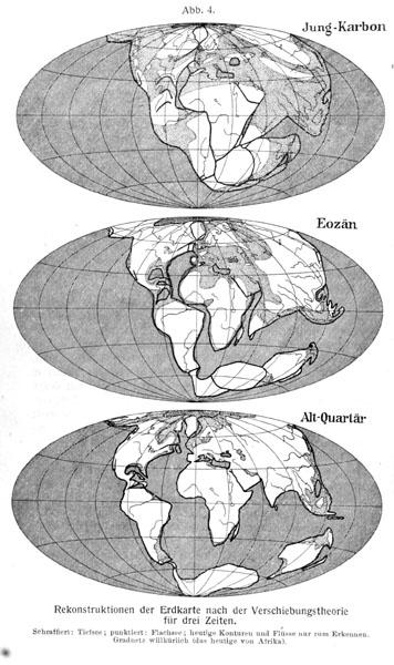 Wegeners rekonstruksjon av i karbon, eocen og kvartær.