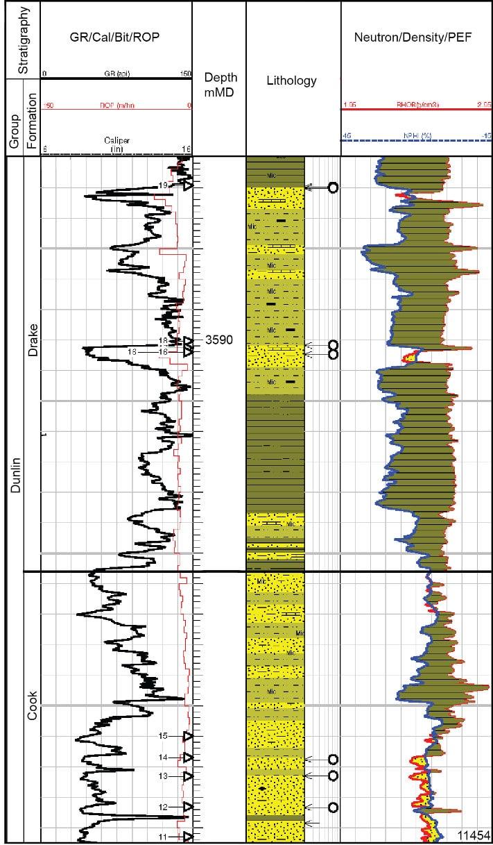 Elektriske logger og tolket lithologi gjennom deler av reservoaret. Klar gul farge angir reservoarsandstein (lave utslag på gammaloggen til venstre), og loggene til høyre viser porøsiteten til bergarten. Skifrige lag er vist med grønn farge (høye utslag på gammaloggen), mens siltige og sandig skifre er vist med gulbrun farge. Illustrasjon: RWE Dea