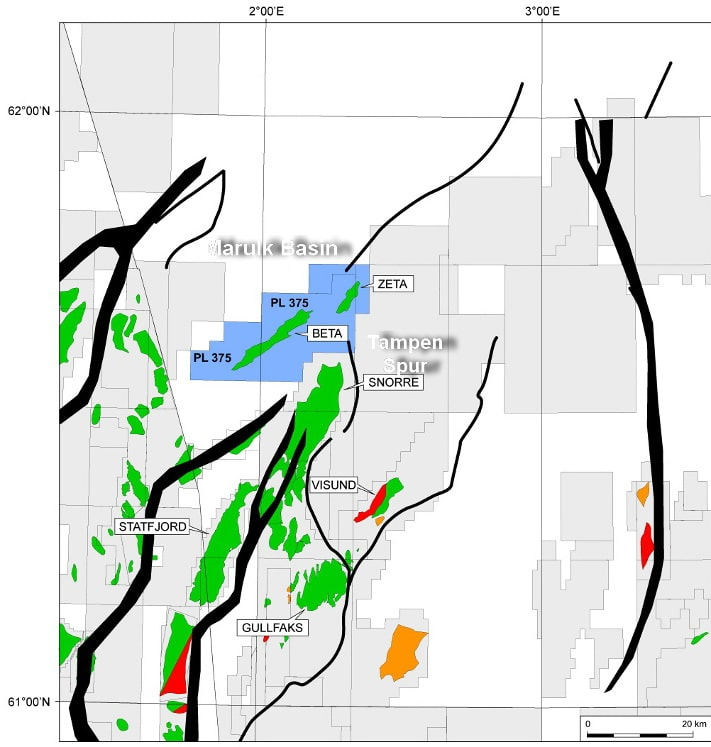 Kartet viser felt og funn på Tampenryggen og tilgrensende områder. Oljefunnet Beta ligger bare 15 km nord for Snorre-feltet - i overgangen mellom Tampenryggen og Marulkbassenget. Legg merke til at funnet er strukket inn i blokk 33/6. Den sørvestre delen av feltet er imidlertid ikke boret opp ennå. Illustrasjon: Suncor