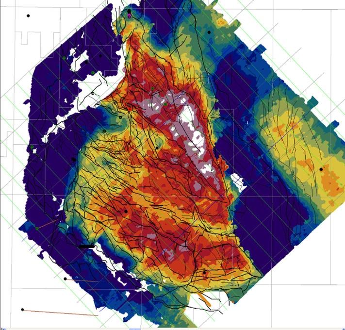 Hastighetskart for bergartene under kritt. Kartet viser gjennomsnittlige seismiske hastigheter i et par hundrede meters tykt skive under Bunn kritt. Dette har fremkommet ved å invertere refraksjons energi med opphav i top kritt. Illustrasjon: Lundin Norway AS