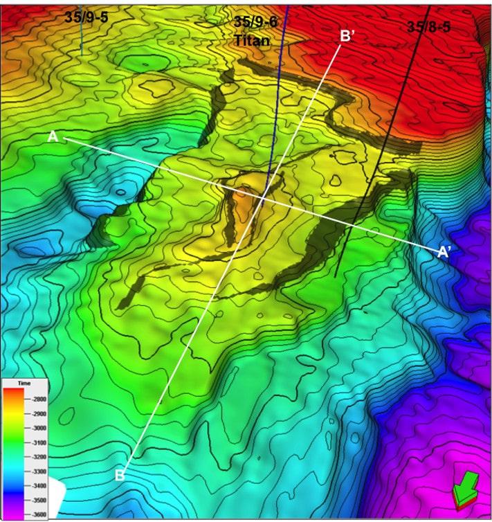 Kart over topp Brent på Titan-funnet med plasseringen av de to linjene som er vist på motstående side. Illustrasjon: RWE Dea