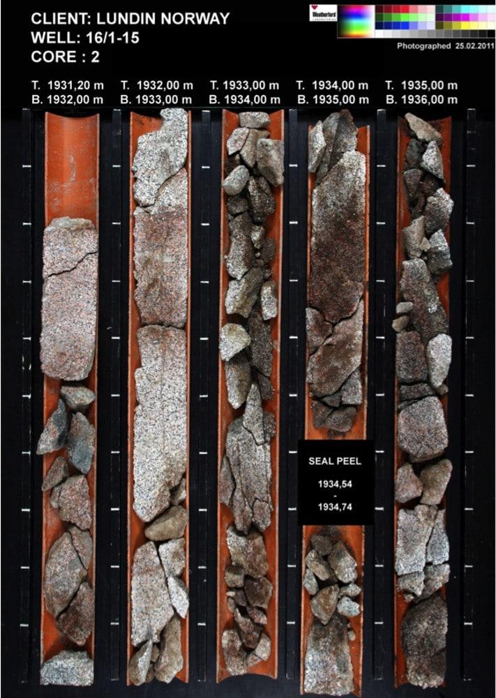 Eksempel på kjerne fra basement. Reservoaret minner litt om ganske alminnelig grus. Illustrasjon: Lundin Norway AS