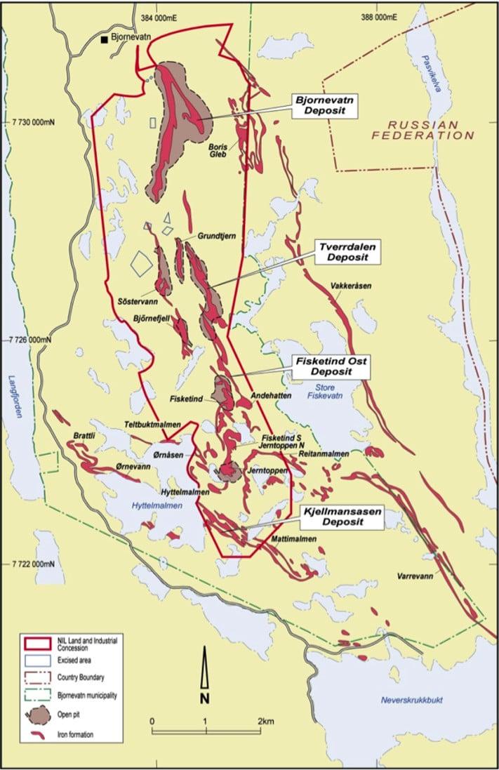 Mer enn 23 separate jernmalmforekomster sør for Bjørnevatn har blitt kartlagt langs en strøklengde på 12 km. Det er påvist til sammen mer enn 400 millioner tonn malm. Bjørnevatn, med 280 millioner tonn, er den største. Bjørnevatn var også den største forekomsten i perioden mellom 1910 og 1997. Illustrasjon: Northern Iron Ltd