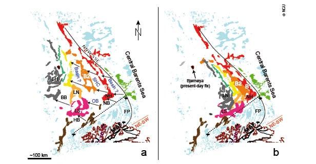 a) Strukturelle høyder i norsk sektor av Barenshavet tolket fra nye flymagnetiske data. b) Rekonstruksjon av de bueformede dekkekompleksene før kollapsen av den kaledonske fjellkjeden og dannelsen av de sen-paleozoiske bassengene. BB - Bjørnøybassenget, B1, B2, B3 - markerte NNV-SSØ gående magnetiske bånd tolket som strukturelle høyder under Bjarmelandplattformen; FP - Finnmarksplattformen; HB - Hammerfestbassenget; LN – Lopphøgda nord; LS – Lopphøgda sør; MAF - intern kaledonsk skyvefront; NB: Nordkappbassenget; NH – Norselhøgda; OB - Ottarbassenget; SH - Stappehøgda; SHC: «Scott Hansen bassengkompleks». © NGU