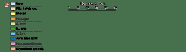 """Geologisk tverrsnitt fra sørøst (t.h.) mot nordvest gjennom Vestfjordbassenget (på innsiden av Lofoten), Lofotryggen med Lofoten, Ribbanbassenget, den nordlige forlengelsen av Trænbassenget, samt den sørlige utstikkeren av Utrøstryggen med antatt prekambriske bergarter. Det går helt tydelig frem at Vestfjorden ligger over et sedimentbasseng med i all hovedsak mesozoiske (jura, kritt) sedimentære bergarter. Øyrekken Lofoten er den oppstikkende delen av """"basementhøyden"""" Lofotryggen. Kilde: Statoil"""