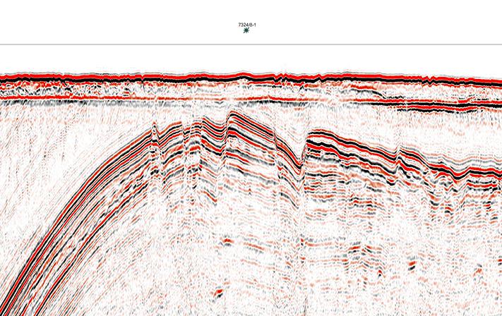 Grunt prospekt. Seismisk linje gjennom Wisting-funnet. Legg merke til at funnet er gjort i jura sandsteiner (Støformasjonen) i strukturen som ligger bare noen få hundre meter under havbunnen. Linjen går fra funnet og inn i åpne områder. Illustrasjon: TGS