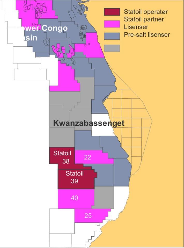 Statoil har som vi ser fått en sterk posisjon i Kwanzabassenget med operatørskap på to blokker og deltakelse i tre andre blokker. Illustrasjon: Statoil
