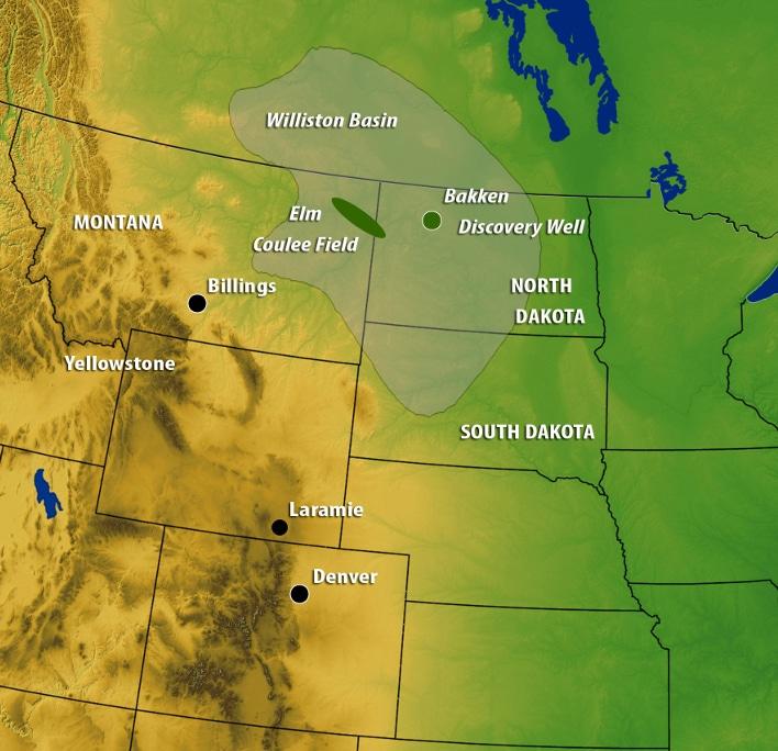 Willistonbassenget overlapper tre amerikanske stater og to canadiske provinser. Med ca. 520.000 km2 tilsvarer arealet omtrent Frankrikes flateinnhold. Utstrekningen av Bakkenformasjonen er mindre enn arealet som er vist på kartet, og den delen av Bakkenformasjonen som inneholder olje begrenser seg til et enda mindre område, hvor kildebergarten er moden. Den letemodellen som Statoil forfølger startet med funnet av Elm Coulee-feltet i 2000.