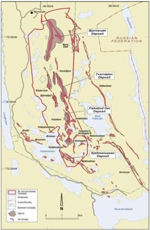 Mer enn 23 separate jernmalmforekomster sør for Bjørnevatn har blitt kartlagt langs en strøklengde på 12 km. Illustrasjon: Northern Iron Ltd