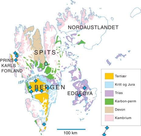 """2.Kartet Viser alle letebrønnene han SOM Boret på Svalbard. I tillegg Har vi lagt til for å AV Turst Arktikugols kullboringer innerst i Bille Som påviste Små mengder Olje (grønn prikk). Ellers er Det blott Boret """"Torre"""" Bronner, SELV om Det er påvist spor av gass Enkelte steder. I en av de (SARS Tangen 1) bare DET også tester målbare mengder gass i Små mengder. Den første letebrønnen på Svalbard han også den nordligste (Rett øst av Prins Karls Forland). Kartografi: Geopublishing"""