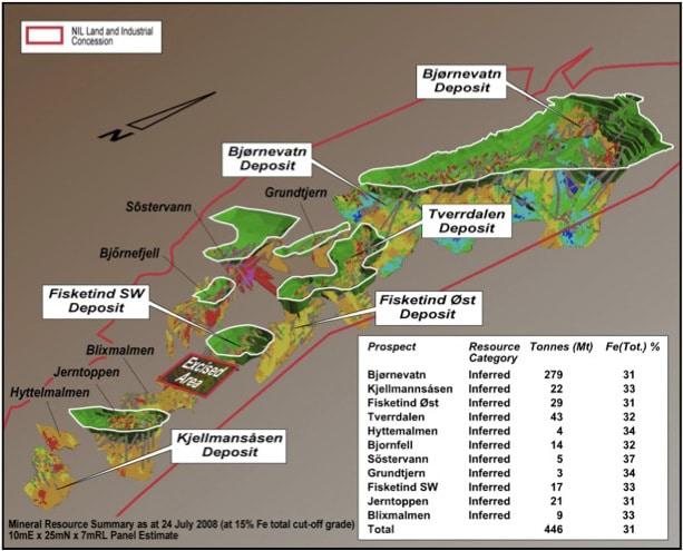 Det er påvist til sammen mer enn 400 millioner tonn malm. Bjørnevatn med nesten 300 millioner tonn er den største. Bjørnevatn var også den største forekomsten under første fase av utvinningen. Illustrasjon: Northern Iron Ltd