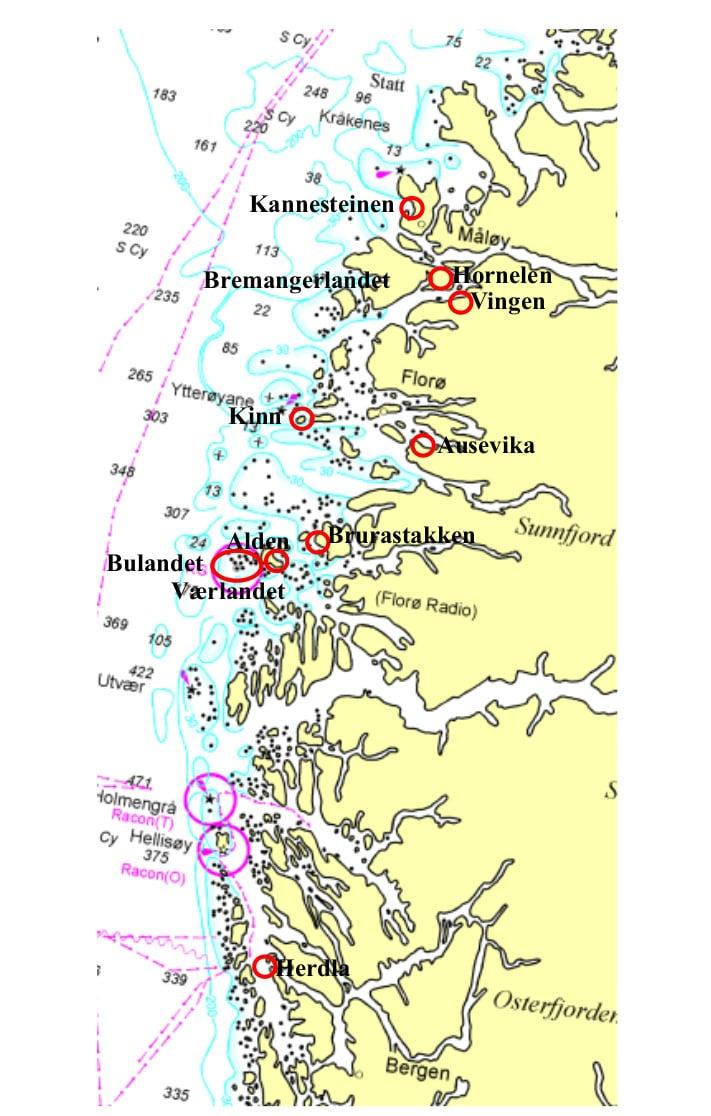 Rød ring viser stedene omtalt i artikkelen. Felles for dem alle er at de lett kan nås ved å bruke sjøvien i stedet for landeveien. Kystlinjen utenfor Sogn og Fjprdane karakteriseres også av flere felt med devonske bergarter. Kart: Prokart/Kartverket