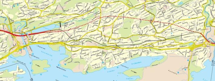 """Tunnelen mellom Lysaker og Sandvika går under et tette befolket område. """"T"""" står for tverrslag, atkomsttunneler til selve tunnelen. Kartografi: Jernbaneverket"""