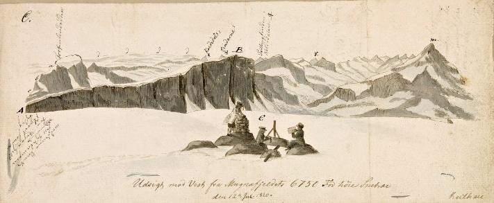 """Keilhau, som er mannen bak denne akvarellen, var en dyktig tegner og malte akvareller med naturtro gjengivelser av landformer. Han satte dessuten navn og høyde på flere av de fjellene de kartla i. Han påviste også den bergarten som nå kalles jotungabbro. Akvarellene ble etter reisen lagt i en mappe kalt """"Erindring af Fjeldreisen 1820"""" som han forærte turkameraten etter fjellreisen. På kopien av denne akvarellen ser vi kjentmannen Ole Urden som bygger varde, Boeck som foretar målinger og Keilhau selv som tegner. Kilde: Nasjonalbiblioteket (Håndskriftsamlingen)"""